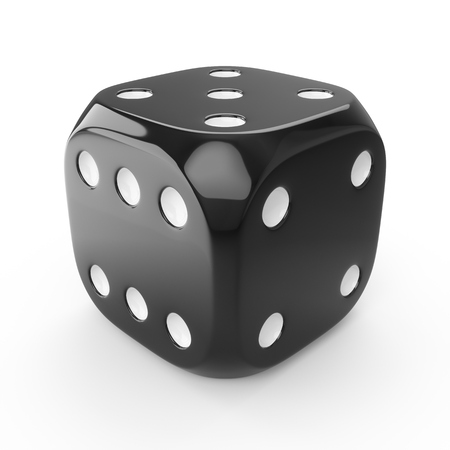 3d rendering black dice isolated on white background Stockfoto