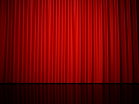3D rendering red stage curtain