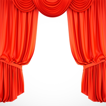 3d rendering red stage curtain on white background
