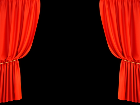 3D rendering red background curtain on black background