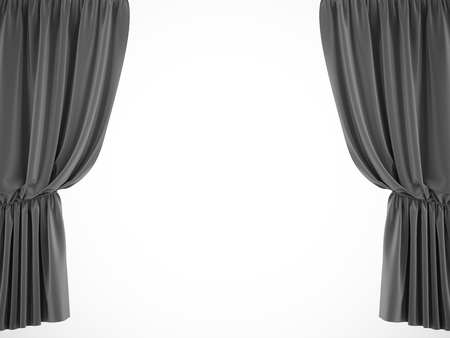 3d rendering black stage curtain on white background