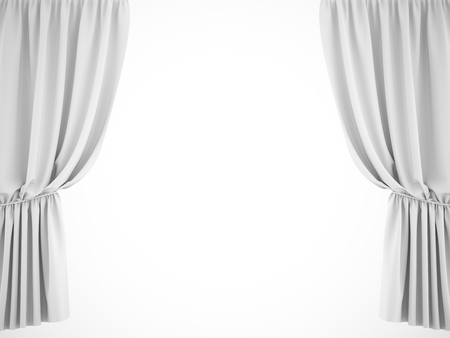 3d rendering white background curtain on white background Stockfoto