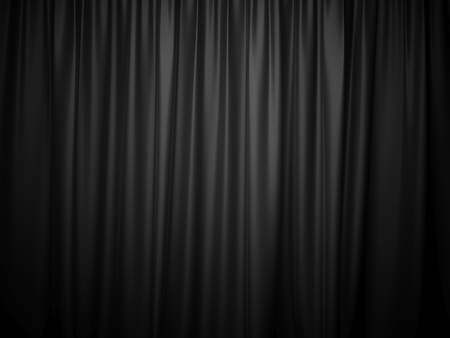 3D rendering black stage curtain