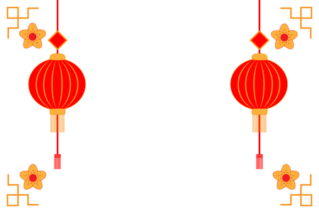 Chinese new year background with lanterns, gold flowers border. Vector illustration.