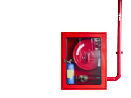 Fire hoses cabinet isolate on white background. 版權商用圖片