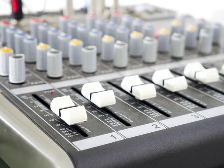 Close-up of sound audio mixing console.