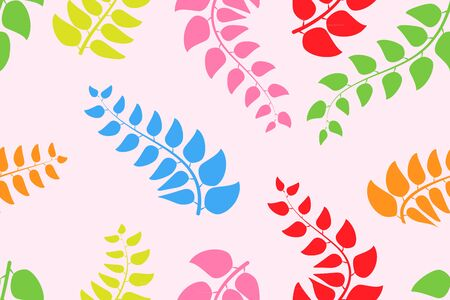 abstract floral seamless pastel leaves background. Illustration