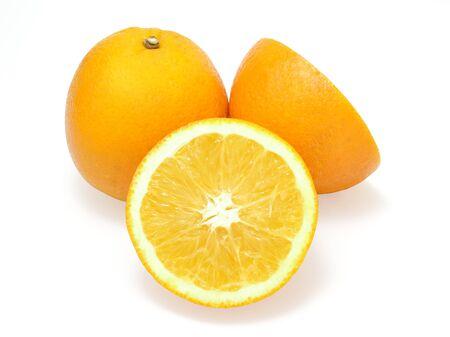 Fresh orange and slice orange isolated on a white