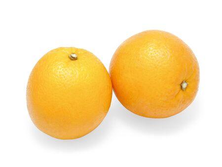 Close up fresh orange isolated on a white