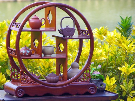 stand teapot: The Exhibition of Ancient Chinese Technology with Teapot on Display stand Stock Photo
