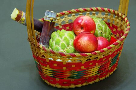 The Fruits and The basket Stock Photo