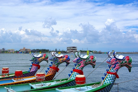 Arranged Dragon boats by the Port Stock Photo