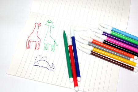 The Colored pens and Notebook with Picture