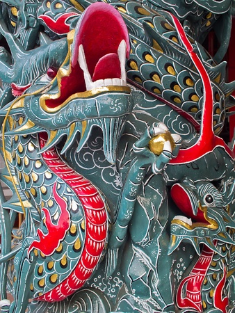 The Chinese Traditional Legend Craft of Two Dragons Fighting bead Stock Photo - 13113647