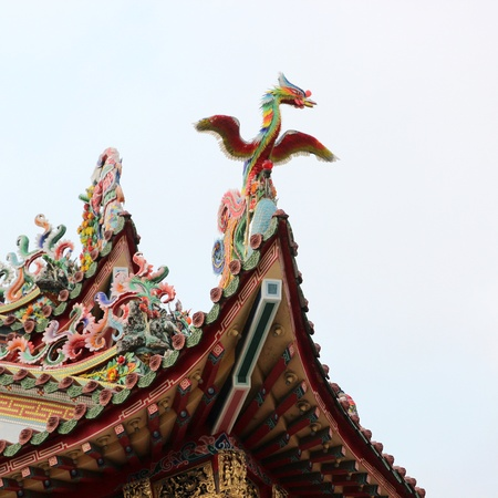The Colorful Abstract Phoenix-decorated of temple in sky Stock Photo - 13186316