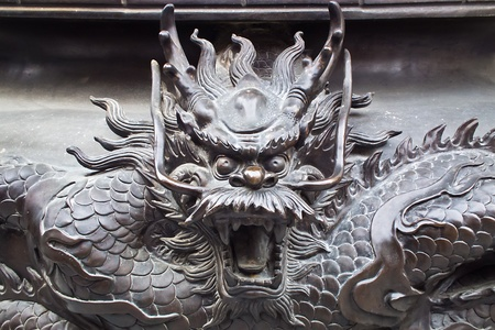 A Vivid Copper Chinese Dragon at Temple for town of evil