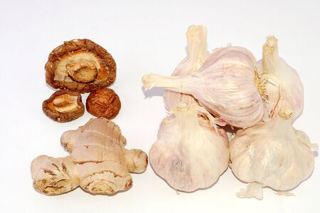 Vegetables of Garlic and ginger and mushrooms