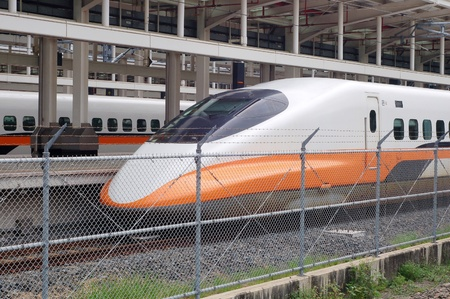 highspeed: A Streamlined High-speed train stop in the Train station