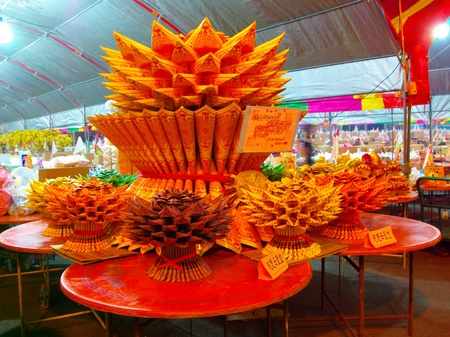 The lotus seat made by Paper money for Ghosts at Chinese Hungry Ghost Festival