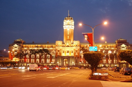 Taiwan s presidential palace in the night