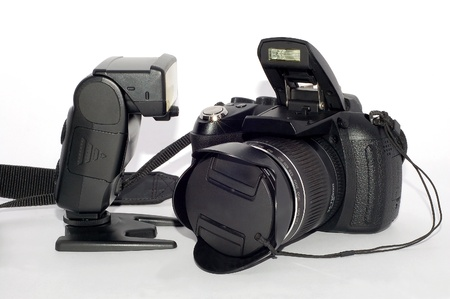 The Photography Tool with flash and Camera Stock Photo