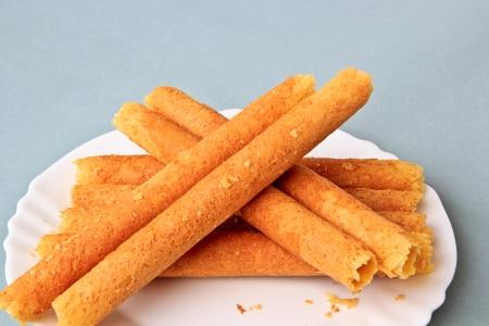 The Dessert of Egg rolls on Plate