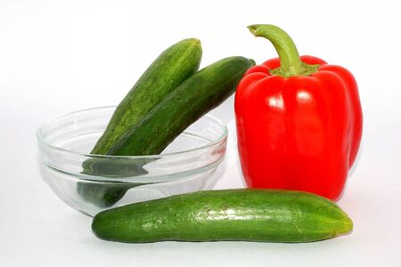 One Red Pepper and three Green cucumber