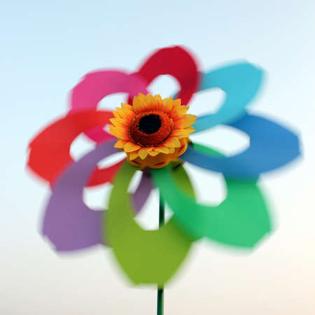 The rotating Color Flower windmill in the Sky