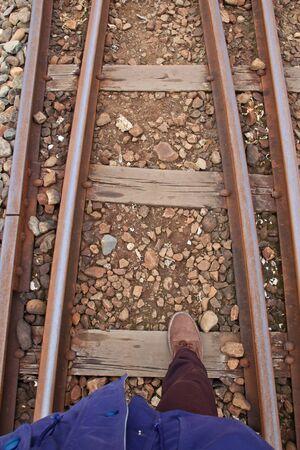 The traveler straighten the Railway Stock Photo