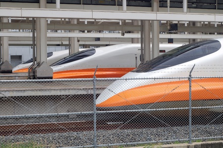 The Arranged Ready high-speed trains in Train station