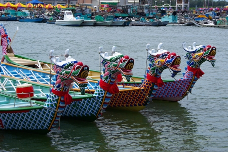 Taiwan Dragon Boat Races at Chinese Traditional Dragon Boat Festival Stock Photo