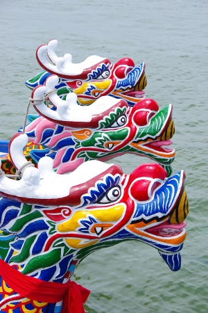 Arranged Dragon boats by the Port at Dragon Boat Festival