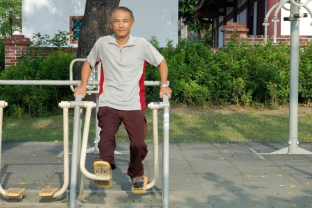 The Man who doing Leg muscles training exercise by Facility in Park
