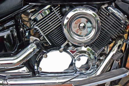 The heavy motorcycle engine with High-speed driving force Stock Photo