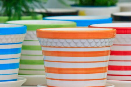 Arrangement of color cups on sale Stock Photo