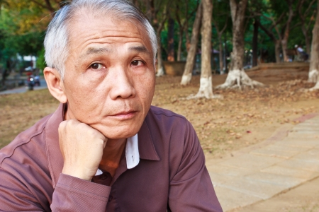 A middle-aged Chinese man with Lost Expression
