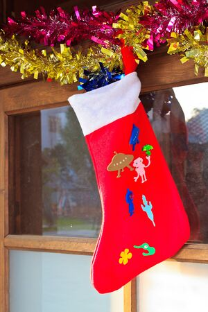 Christmas sock In front of the Door