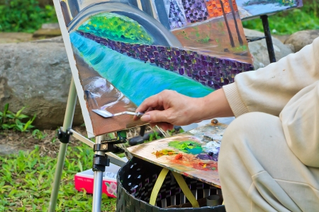 The Oil painting creation with Painting knife and Palette