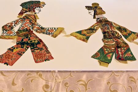 A Light and shadow show of Chinese shadow puppetry Stock Photo