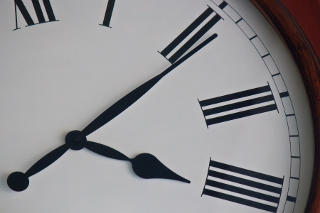 elapsed: Clock close-up with Concept of Time and Money Stock Photo