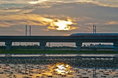 Taiwan High Speed Rail and farmland photo