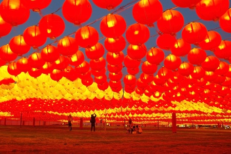 Lively Sea of lights and Tourists at Taiwan Lantern Festival