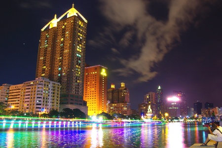 Taiwan s Kaohsiung City with River and skyscrapers at night