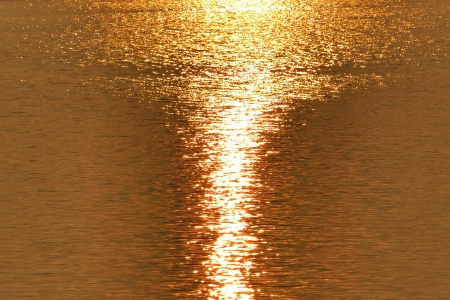 The Dazzling Golden sunlight on the lake at Summer Stock Photo