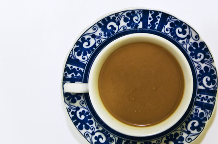 housewares: A Classical Coffee cup with coffee Stock Photo