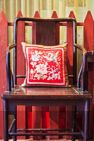 unique characteristics: Ancient Chinese chair with cushion
