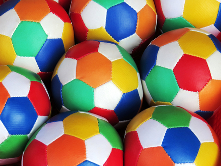 A pile of colored football for sale Stock Photo