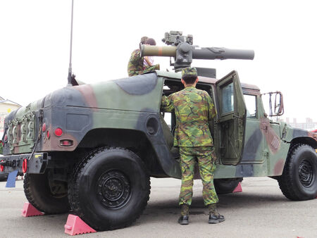 conscription: Humvee with missile    2014 Taiwan national army Shows a variety of weapons in recruiting activities
