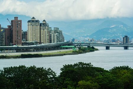 Landscape of Taipei with River and skyscrapers