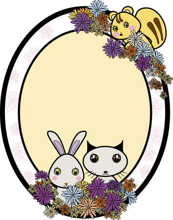 Three cute furry animals  a chipmunk, bunny, and kitten  holding colorful flowers within a oval frame that includes a message space